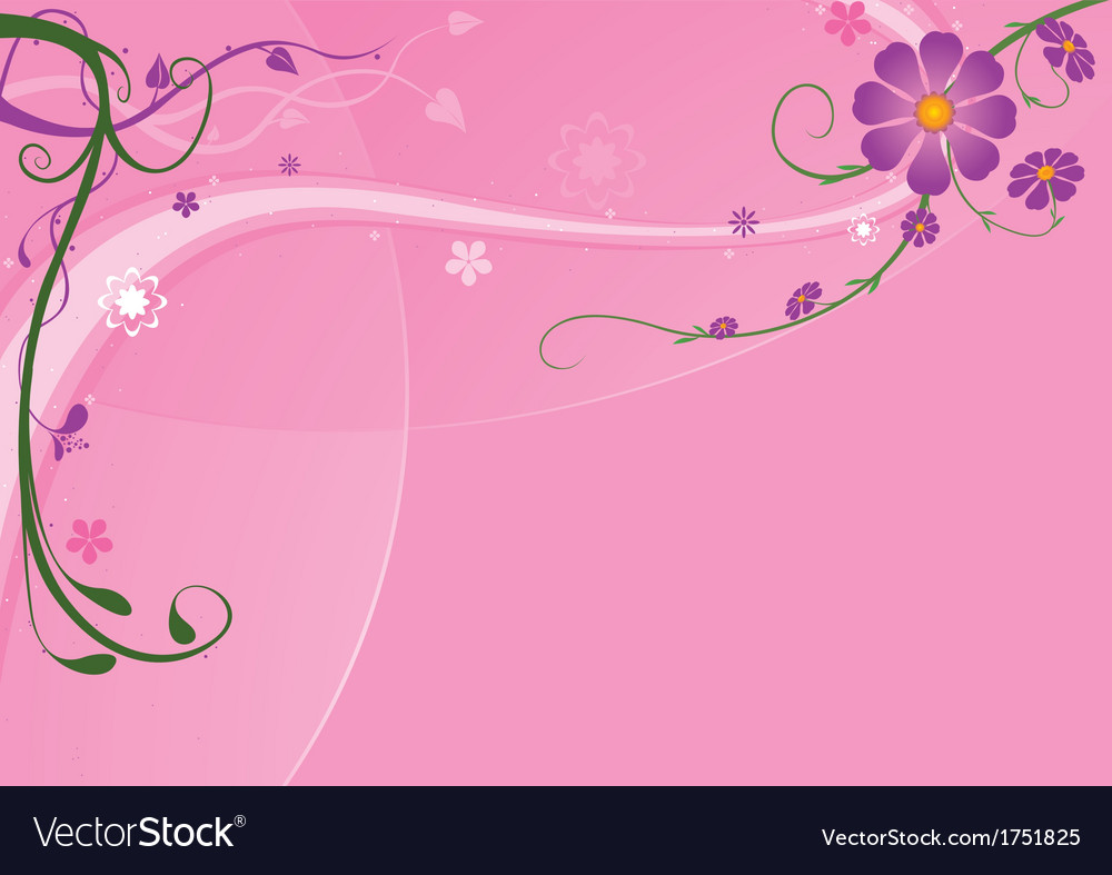 Pink Background And Florals vector image
