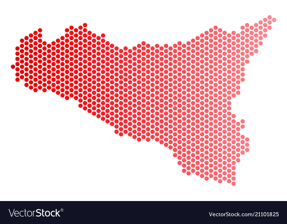 Red dotted sicilia map