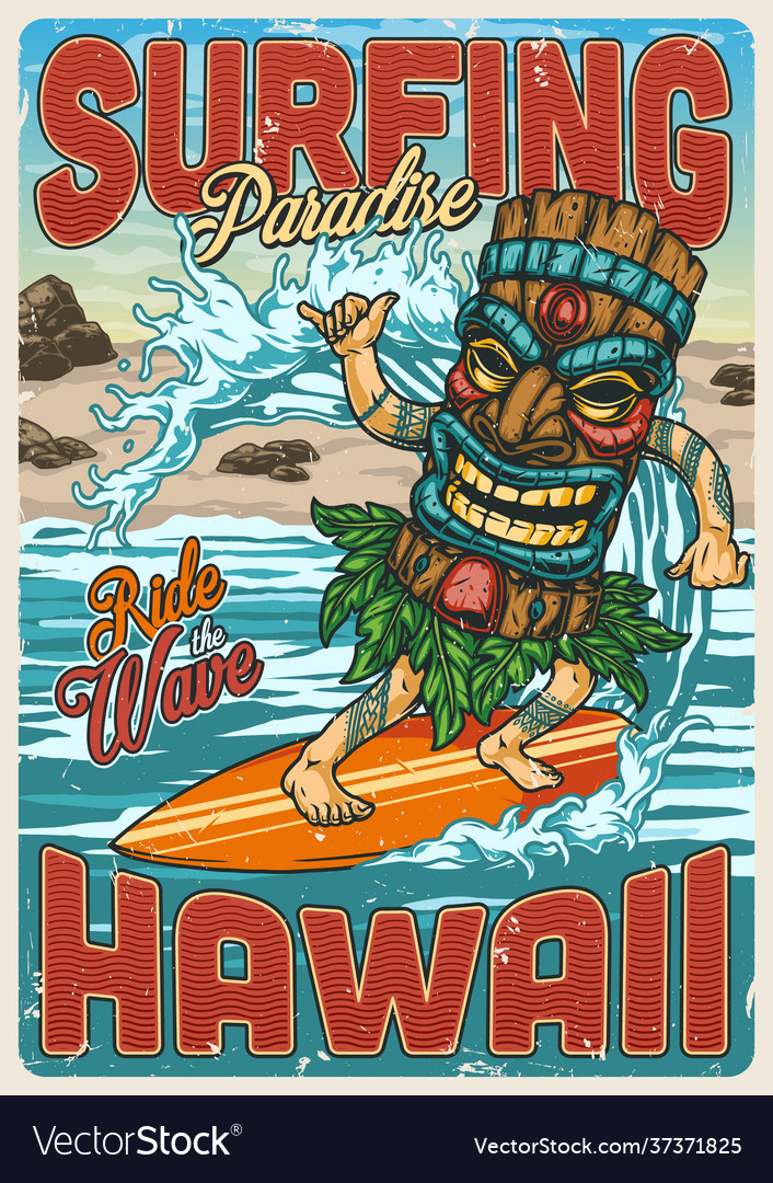 Surfing vintage colorful poster