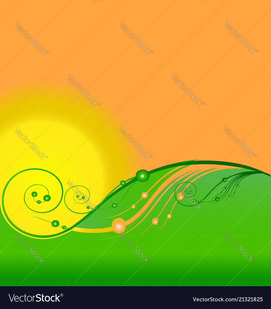 Swirly hills and green spring field flowers icon