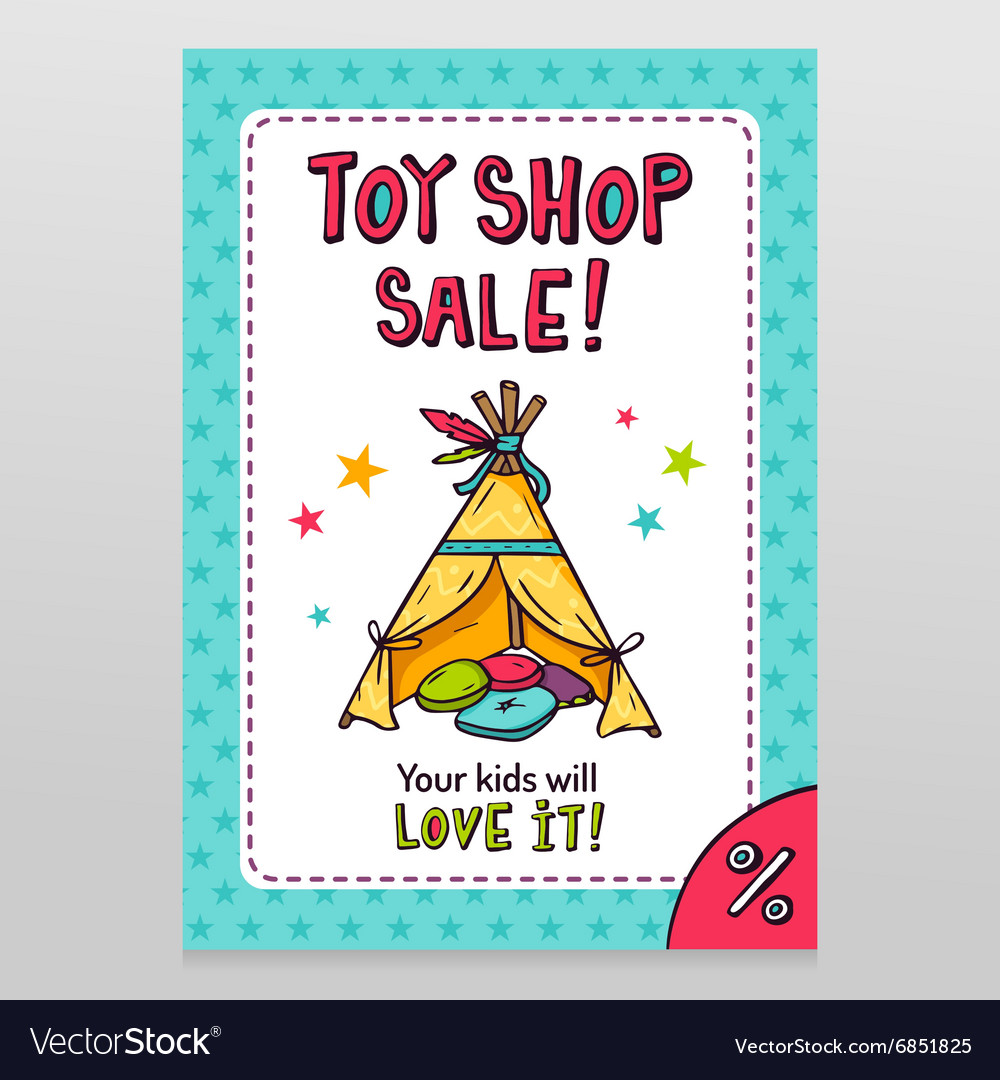 Toy shop sale flyer design with Indian wigwam for