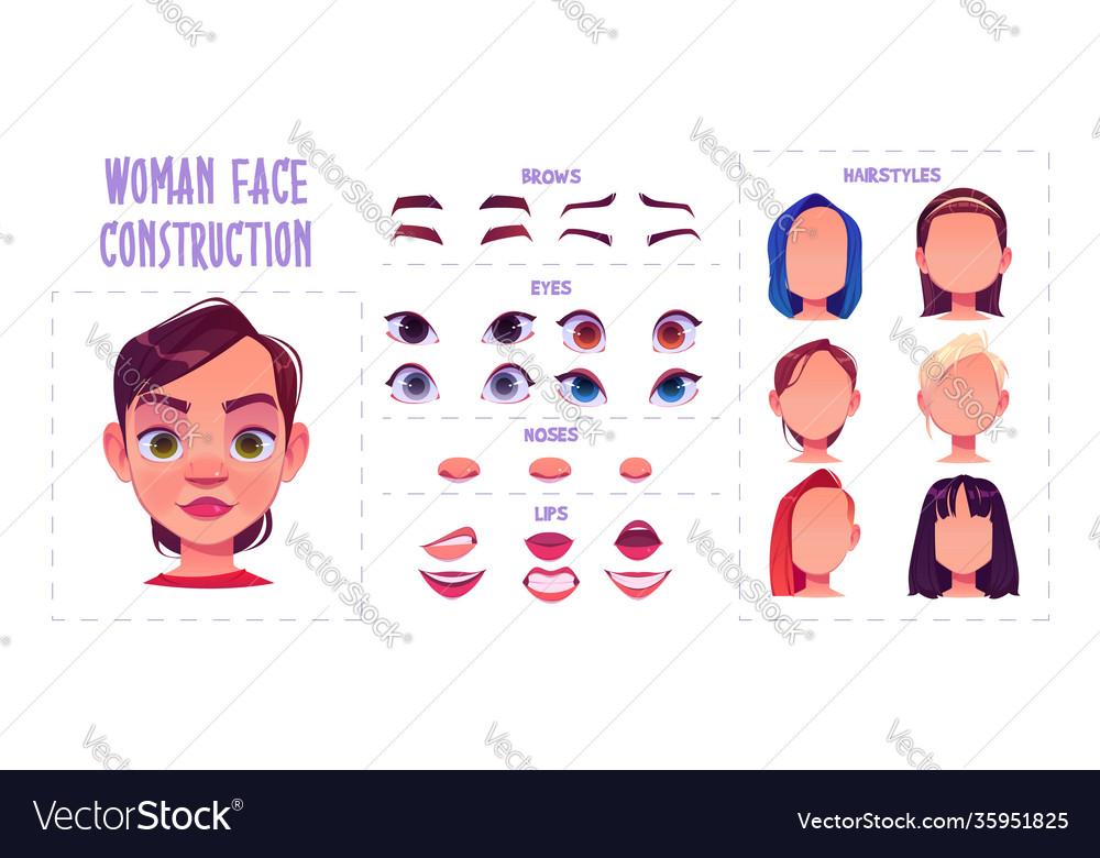 Woman face construction avatar creation set