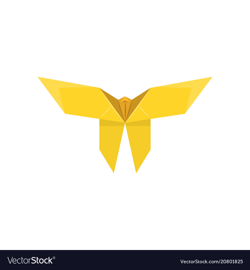 Yellow Paper Butterfly Made In Origami Technique Vector Image Mouse Diagram Embroidery