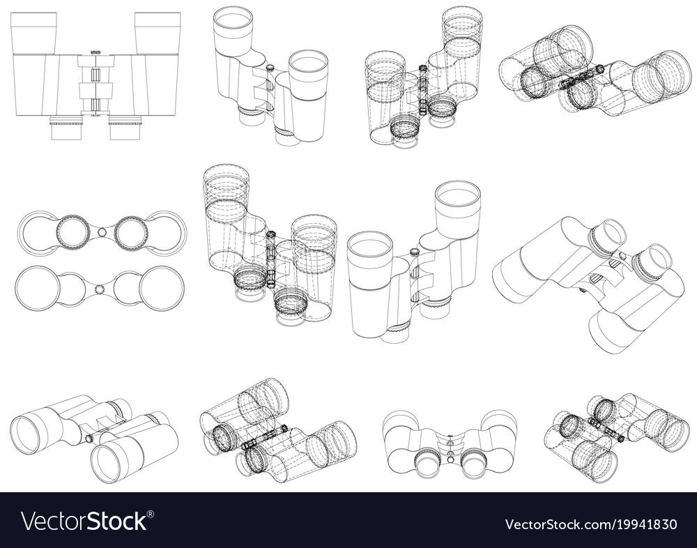Binoculars on a white vector image