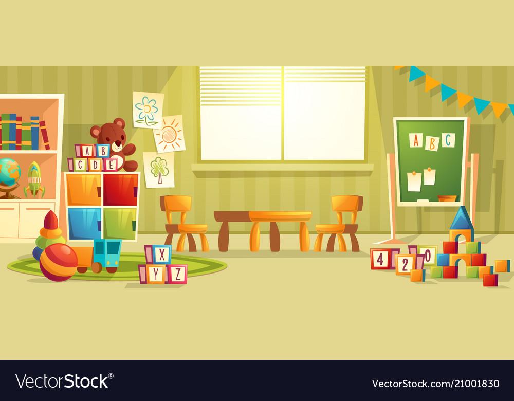 Cartoon interior of kindergarten room