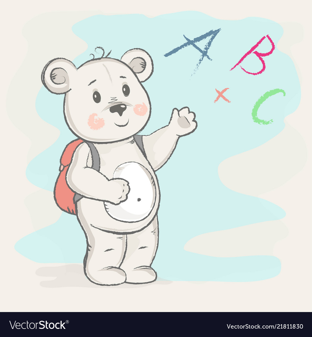 Cute bear with a briefcase shows