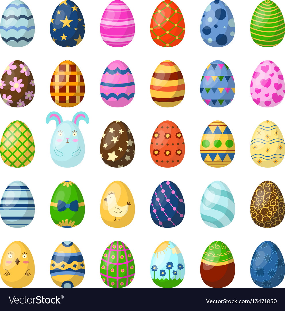 Easter eggs painted with spring pattern