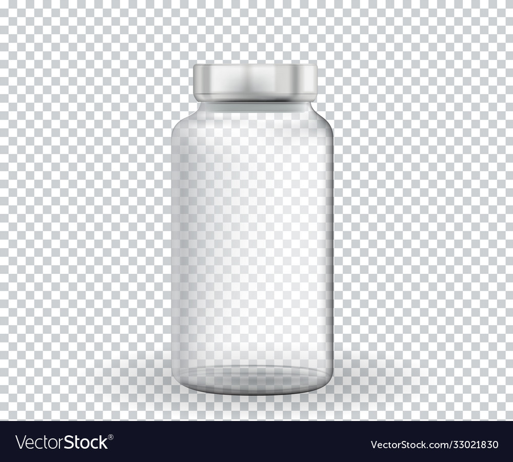 Empty ampoule for medicine vaccine on transparent vector