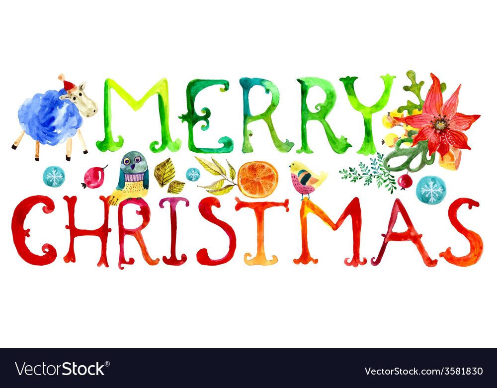Merry Christmas watercolor text