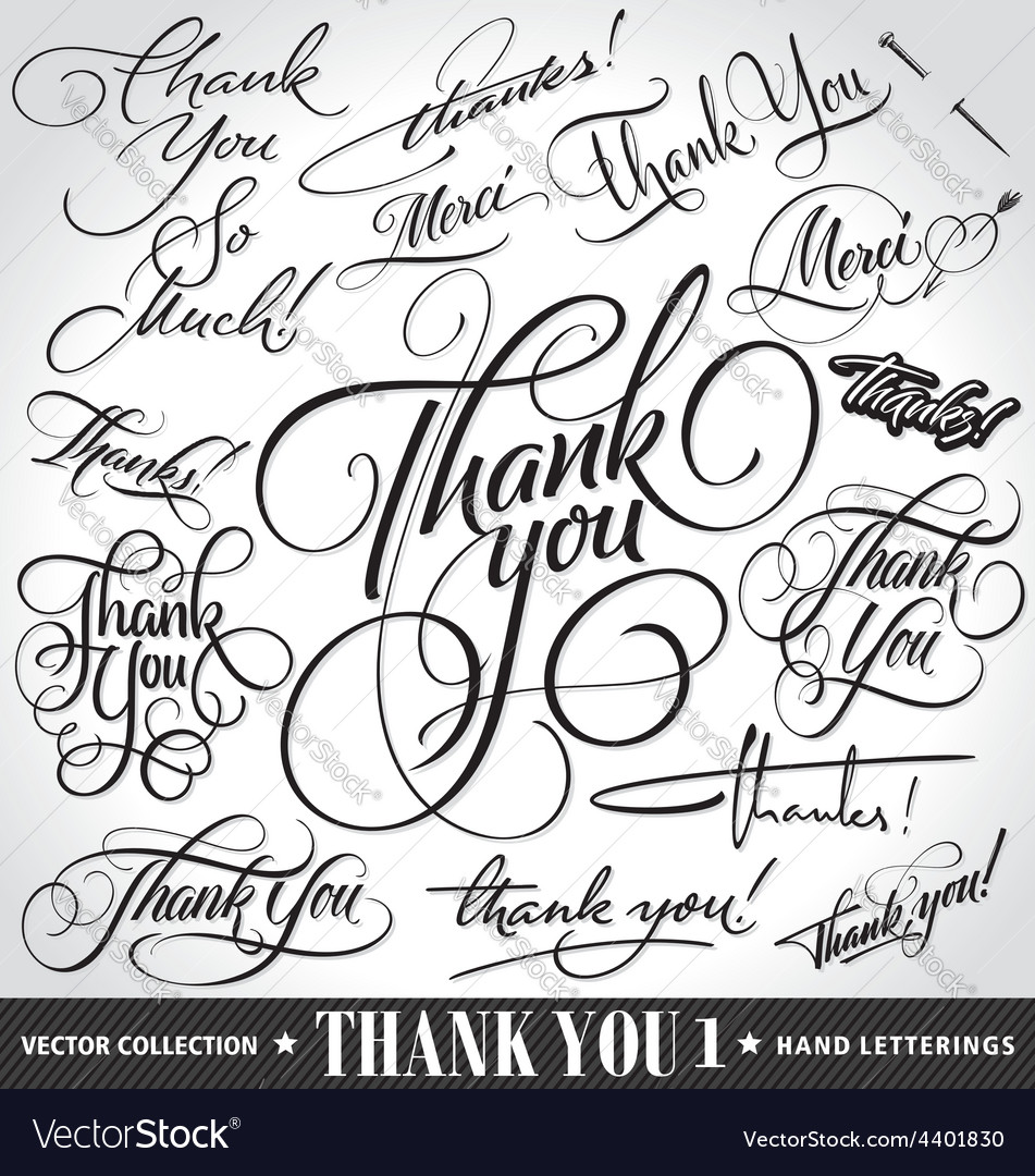 Set of custom THANK YOU hand lettering vector image