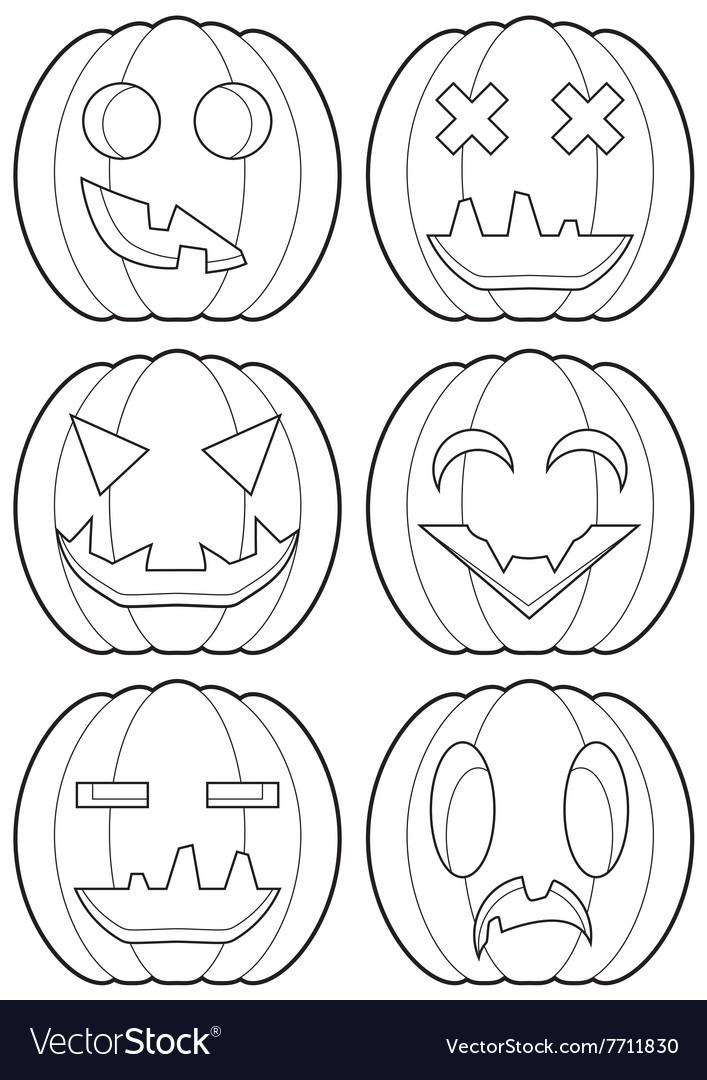 Set of pumpkins outlines vector image