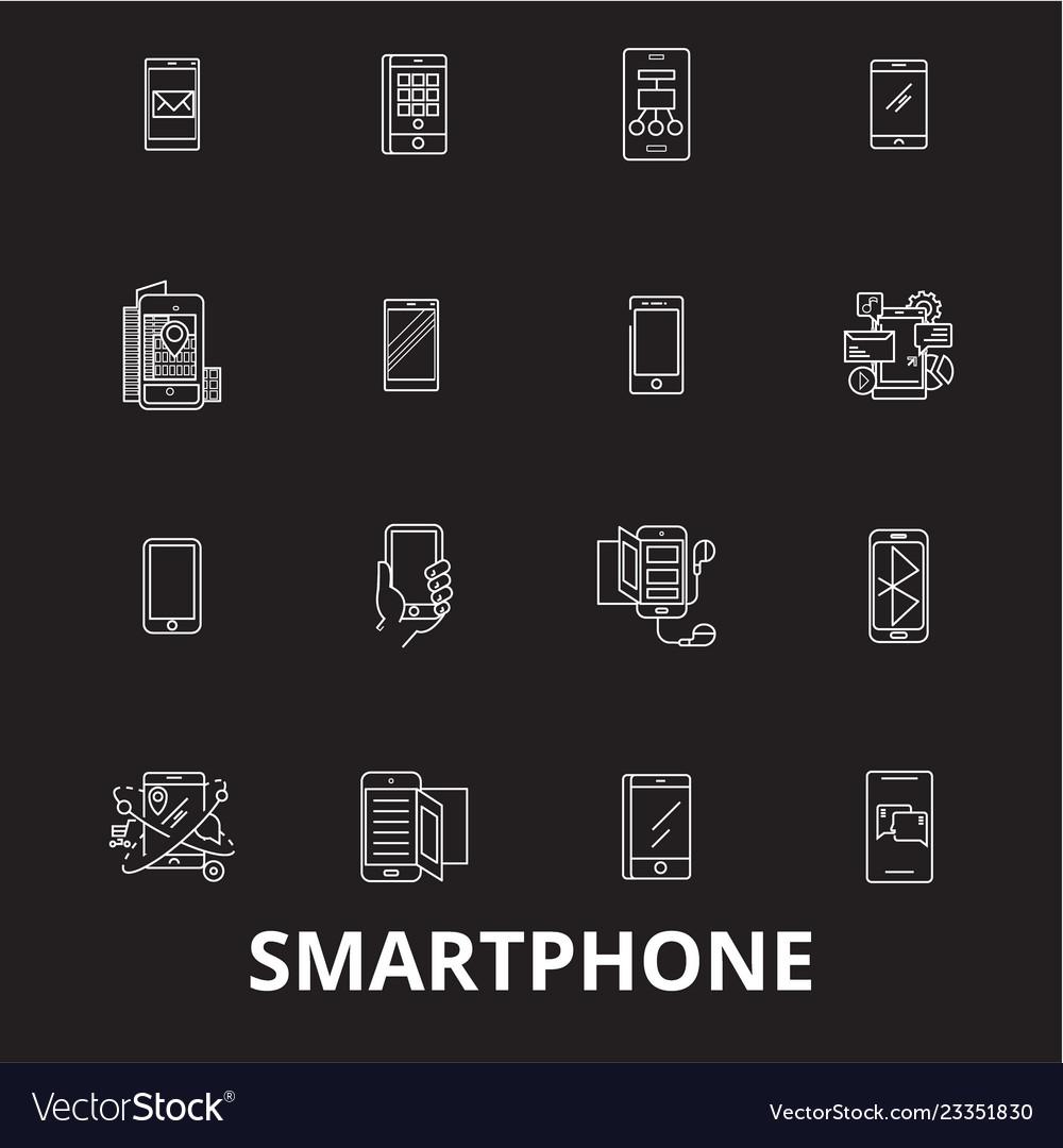 Smartphone editable line icons set on black
