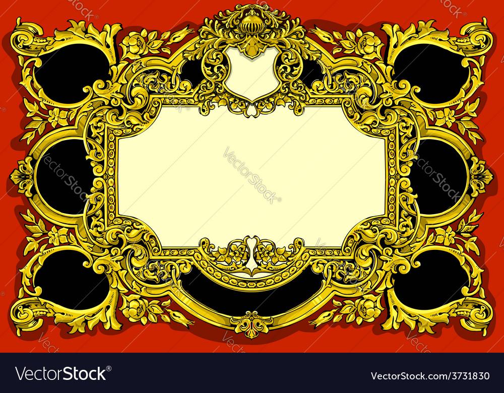 vintage gold baroque frame on red background vector image