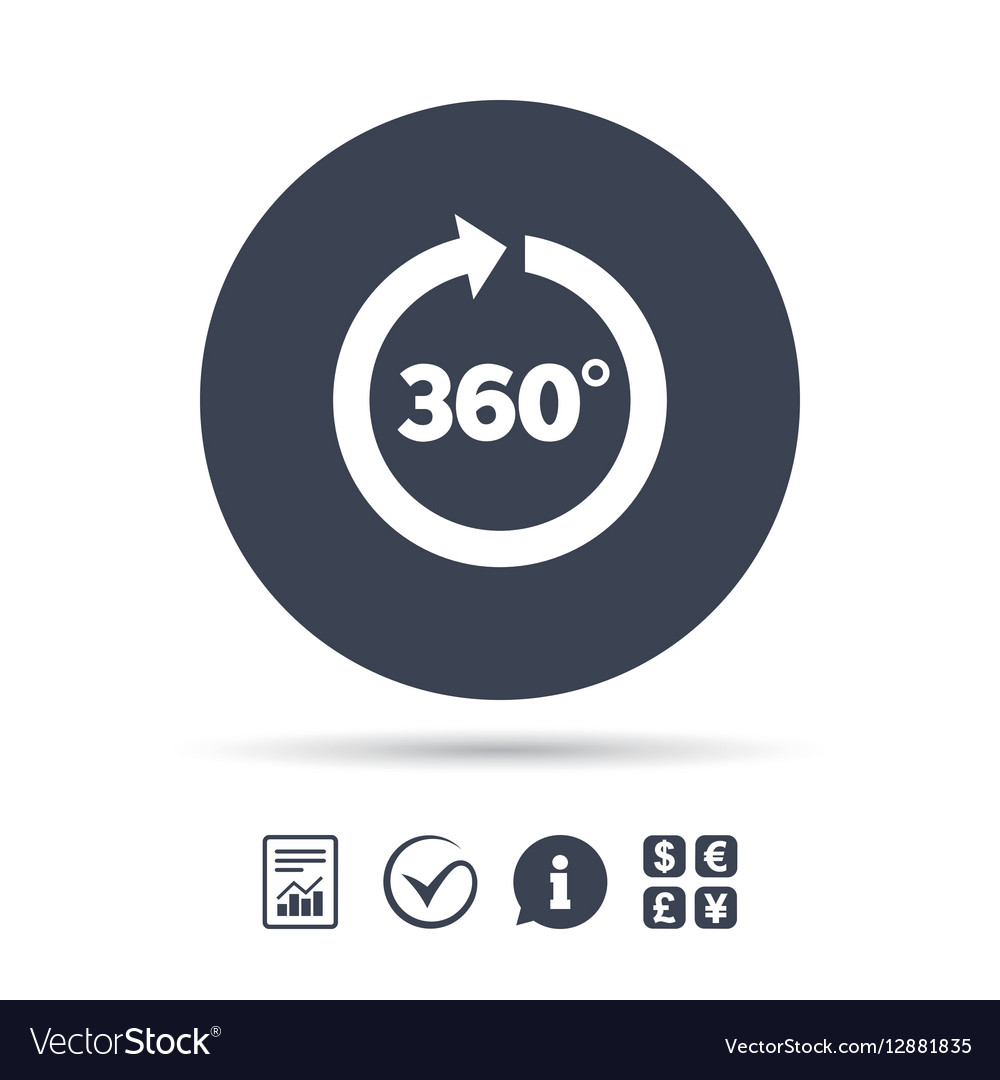 Angle 360 Degrees Sign Icon Geometry Math Symbol Vector Image