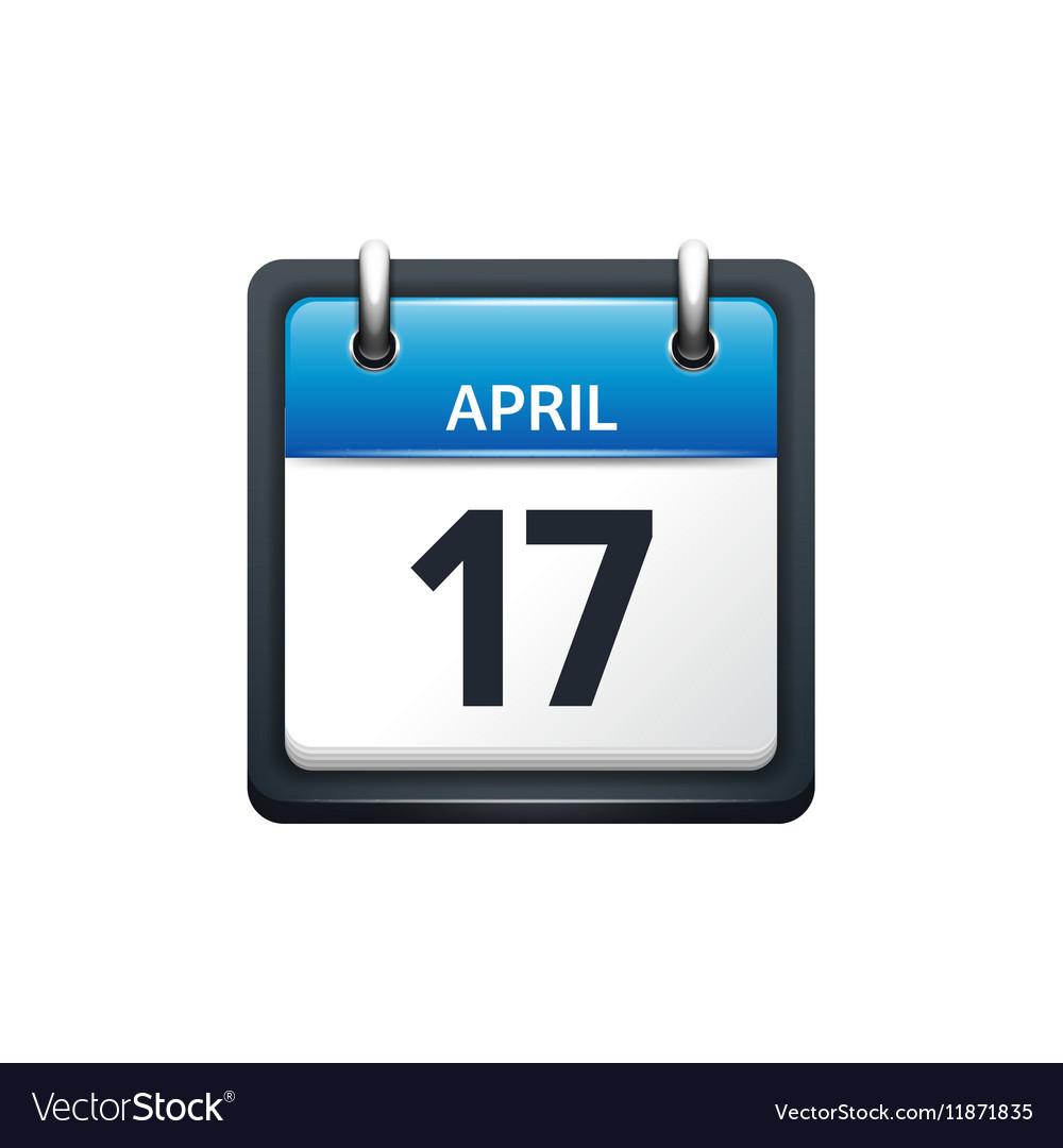 April 17 Calendar icon flat vector image