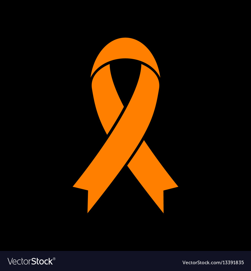 Black awareness ribbon sign orange icon on black vector image