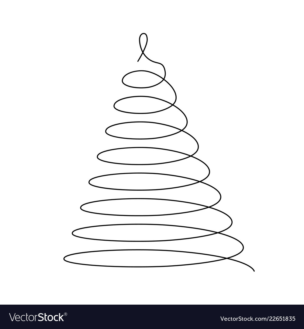 Christmas Tree Thin Black Wired Spiral In A Shape