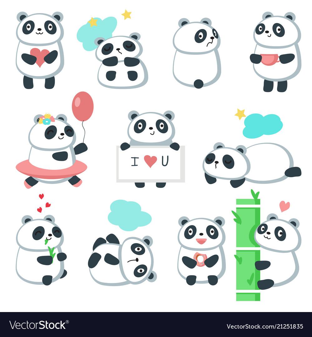 Cute panda icon set isolated