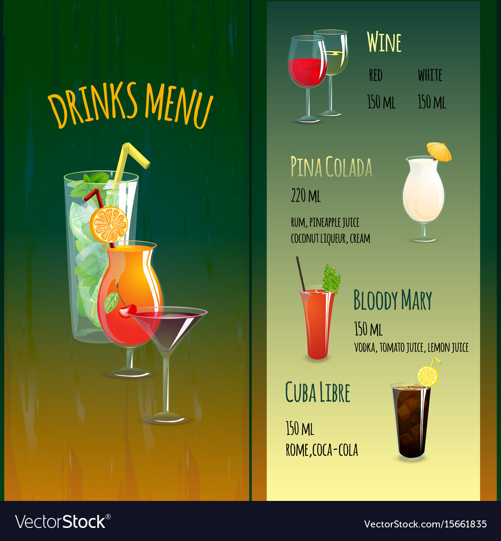 Drinks menu template vector image