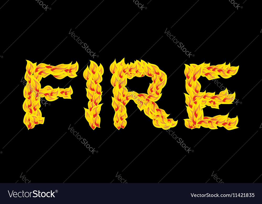 Fire textFlame typography Burning letters fiery