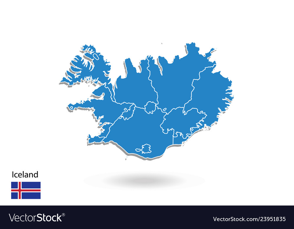 Iceland map design with 3d style blue iceland map