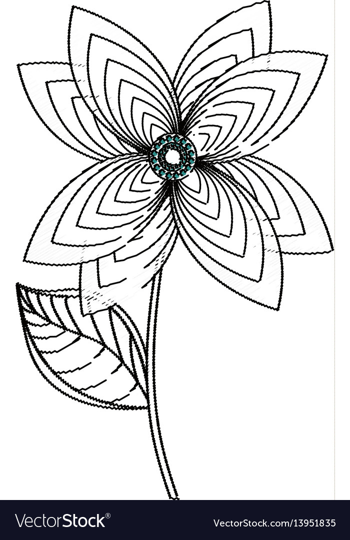Lily flower decoration sketch