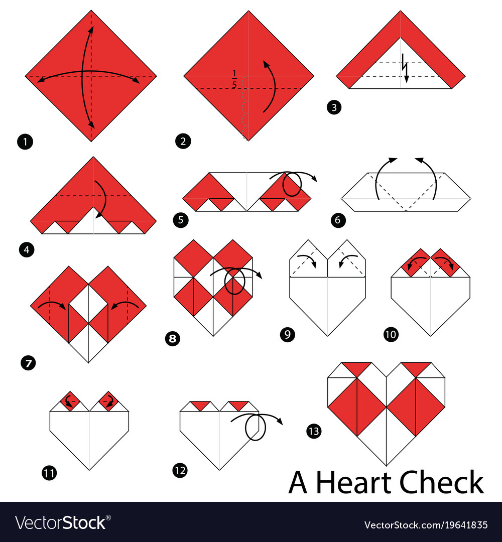 Simple origami heart step by step instructions | Origami easy ... | 1080x1000