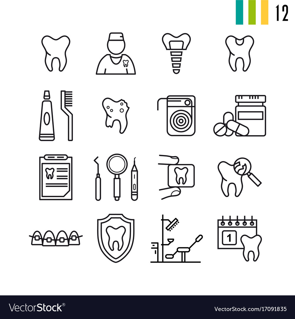 Outline set of dental icons