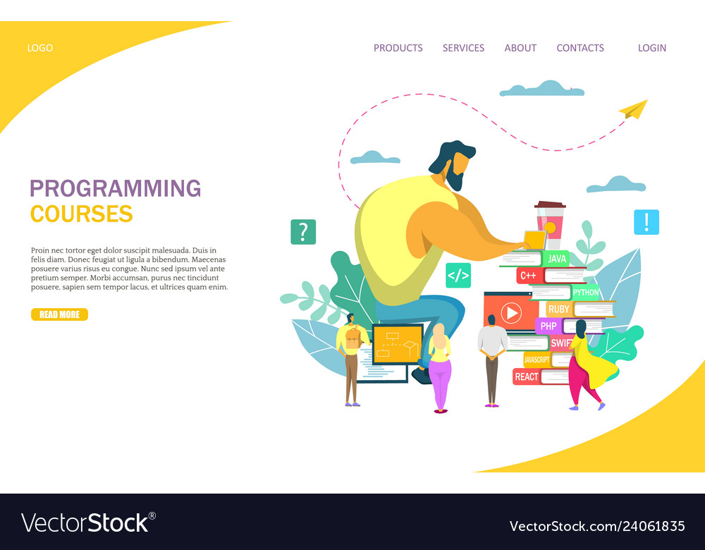 Programming courses website landing page