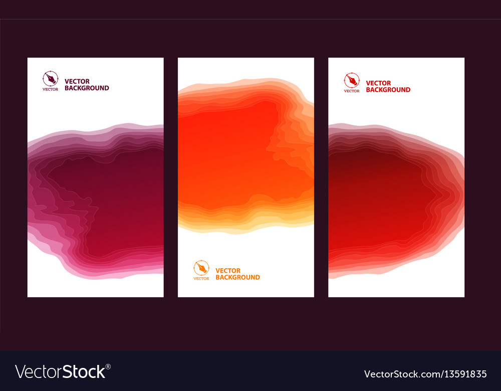 Set of three banners abstract headers with step