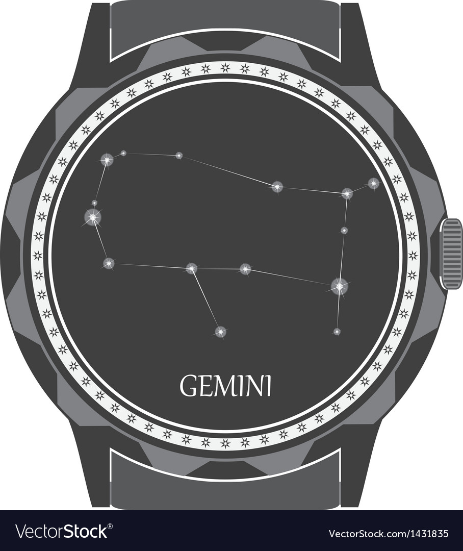 The watch dial with the zodiac sign Gemini