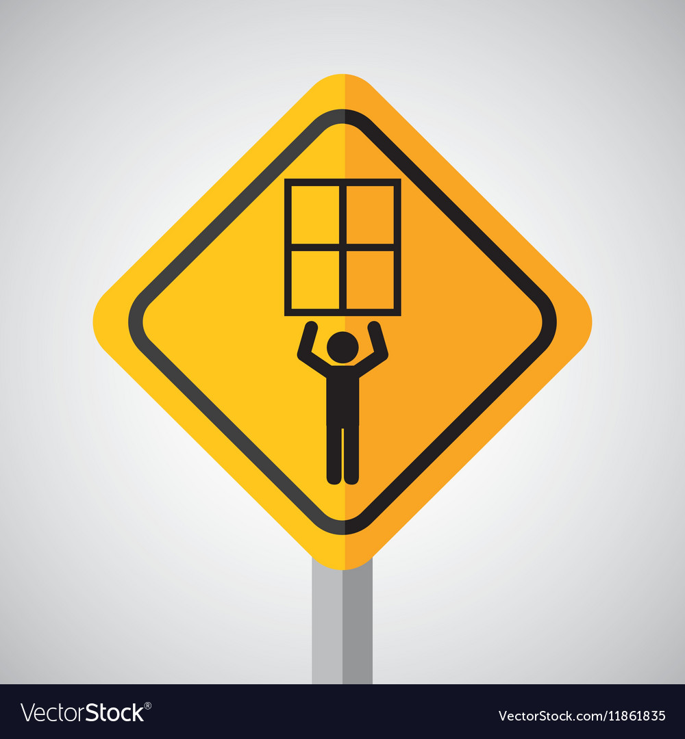 Under construction road sign man hold window vector image