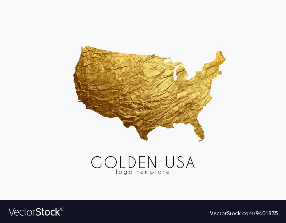 USA map Golden USA logo Creative USA logo design