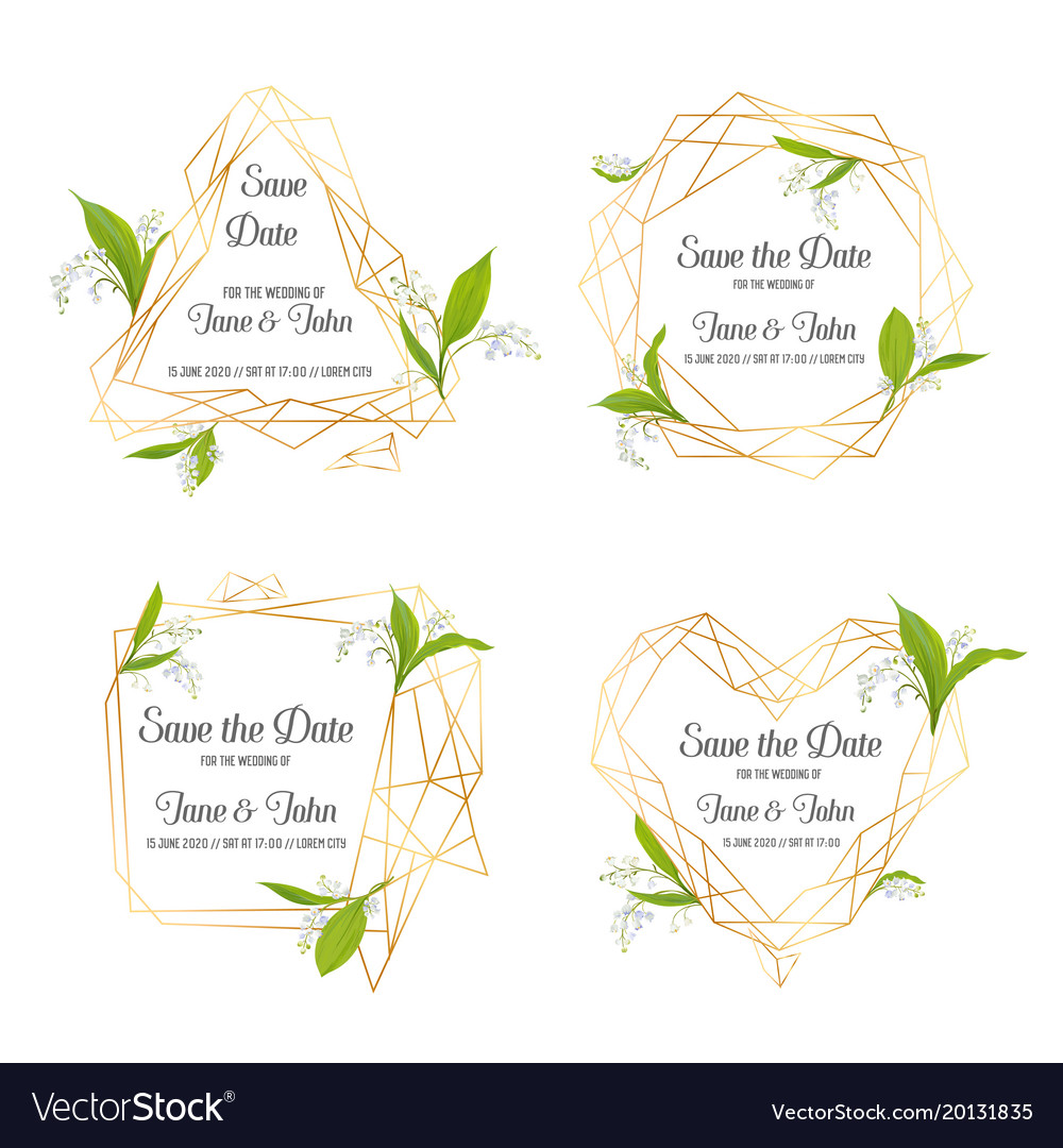 Wedding invitation floral template set