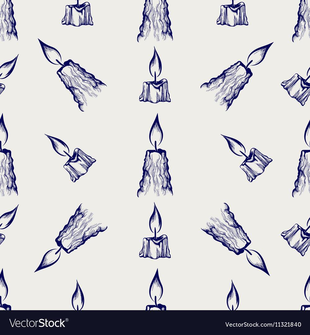 Ball pen sketch candles seamless pattern