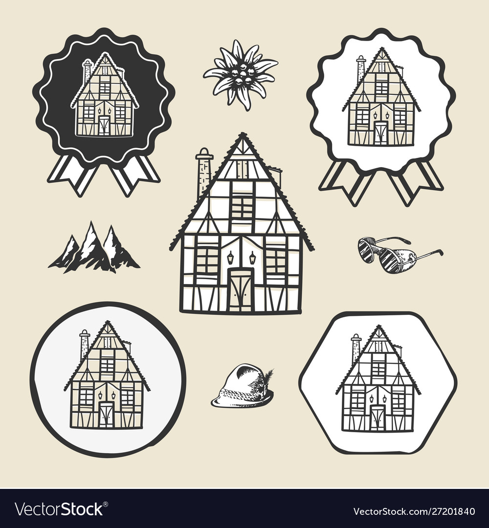 Bavarian germany vintage house icon flat web sign