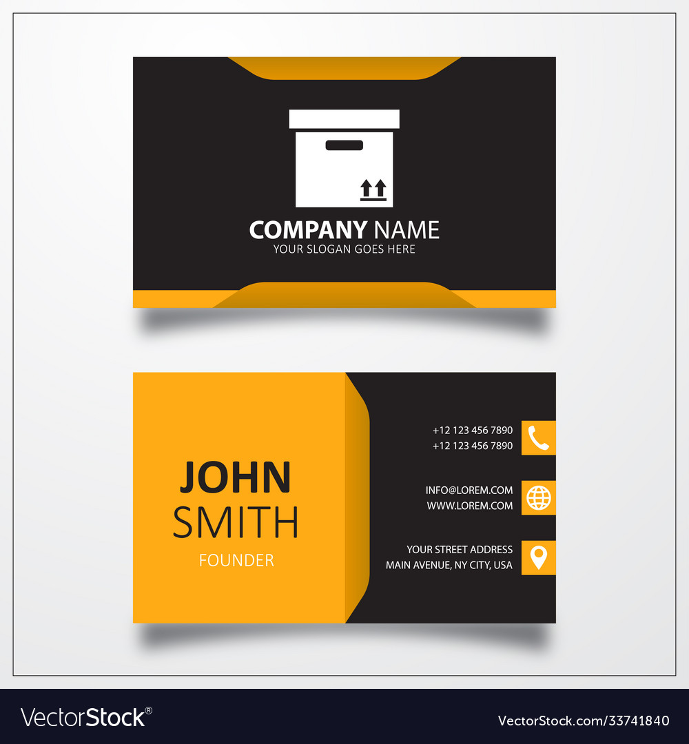 Box icon business card template
