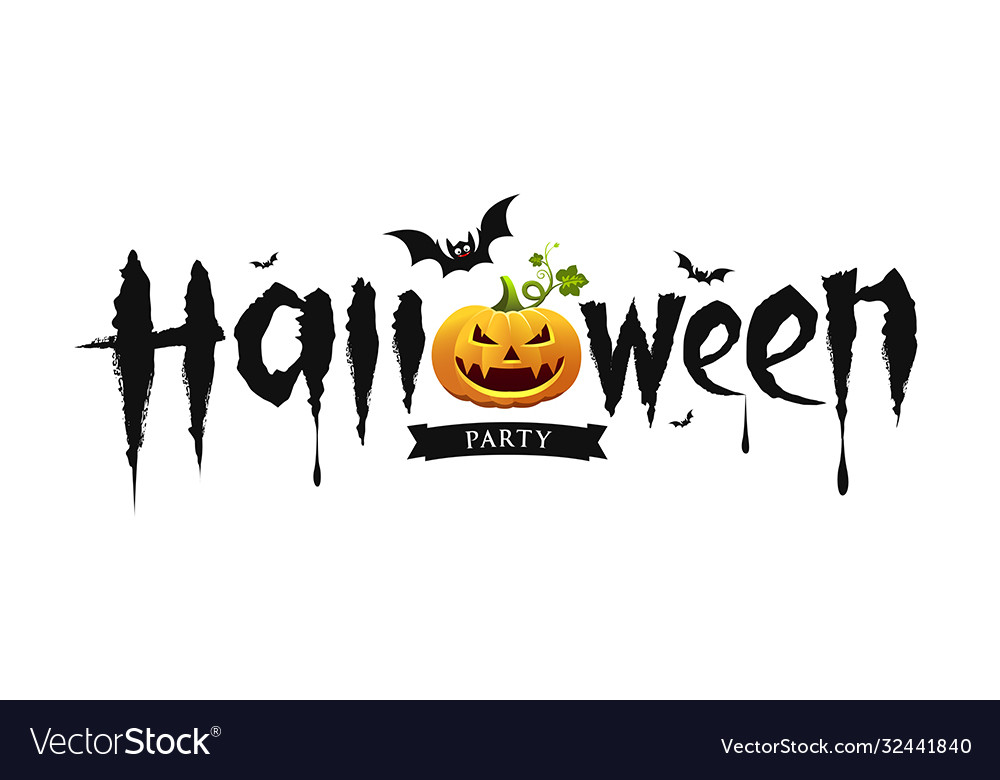 Halloween party text design with pumpkin and bat