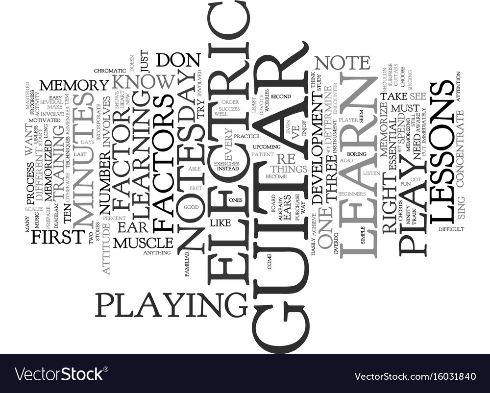 Learn To Play Electric Guitar Text Background Vector Image