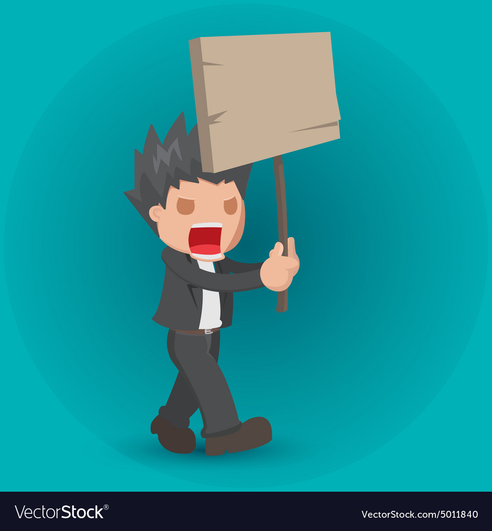 Man Hold Board Protest Strike