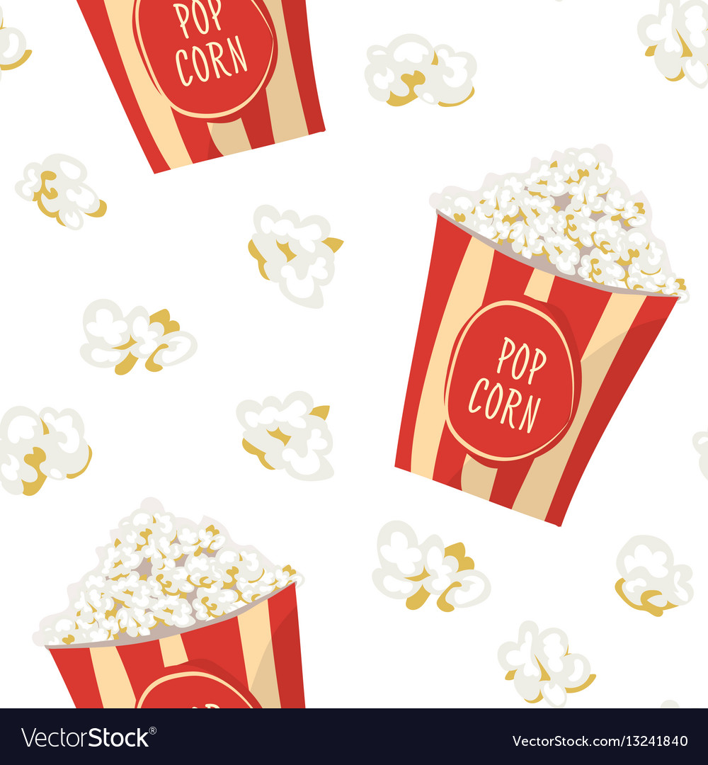 Pop corn in a red stripped pack seamless pattern