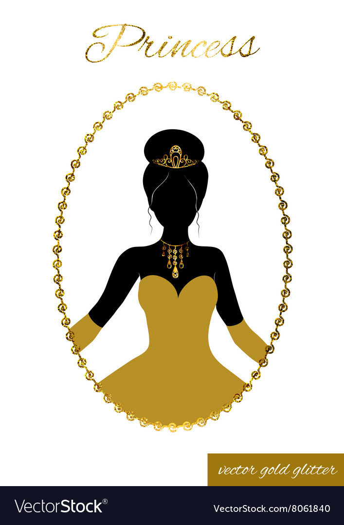 princess silhouette in gold glitter frame cameo vector image