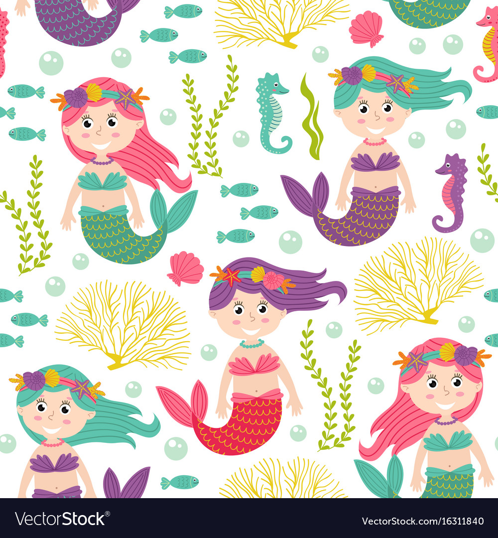 Seamless pattern with mermaid under the sea