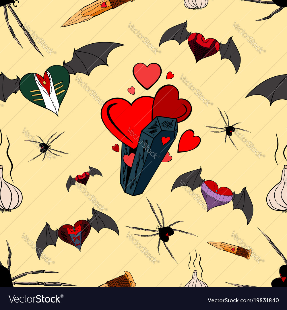 Vampire seamless pattern for the valentine day