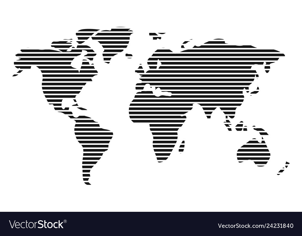 World map in horizontal stripes bars - abstract