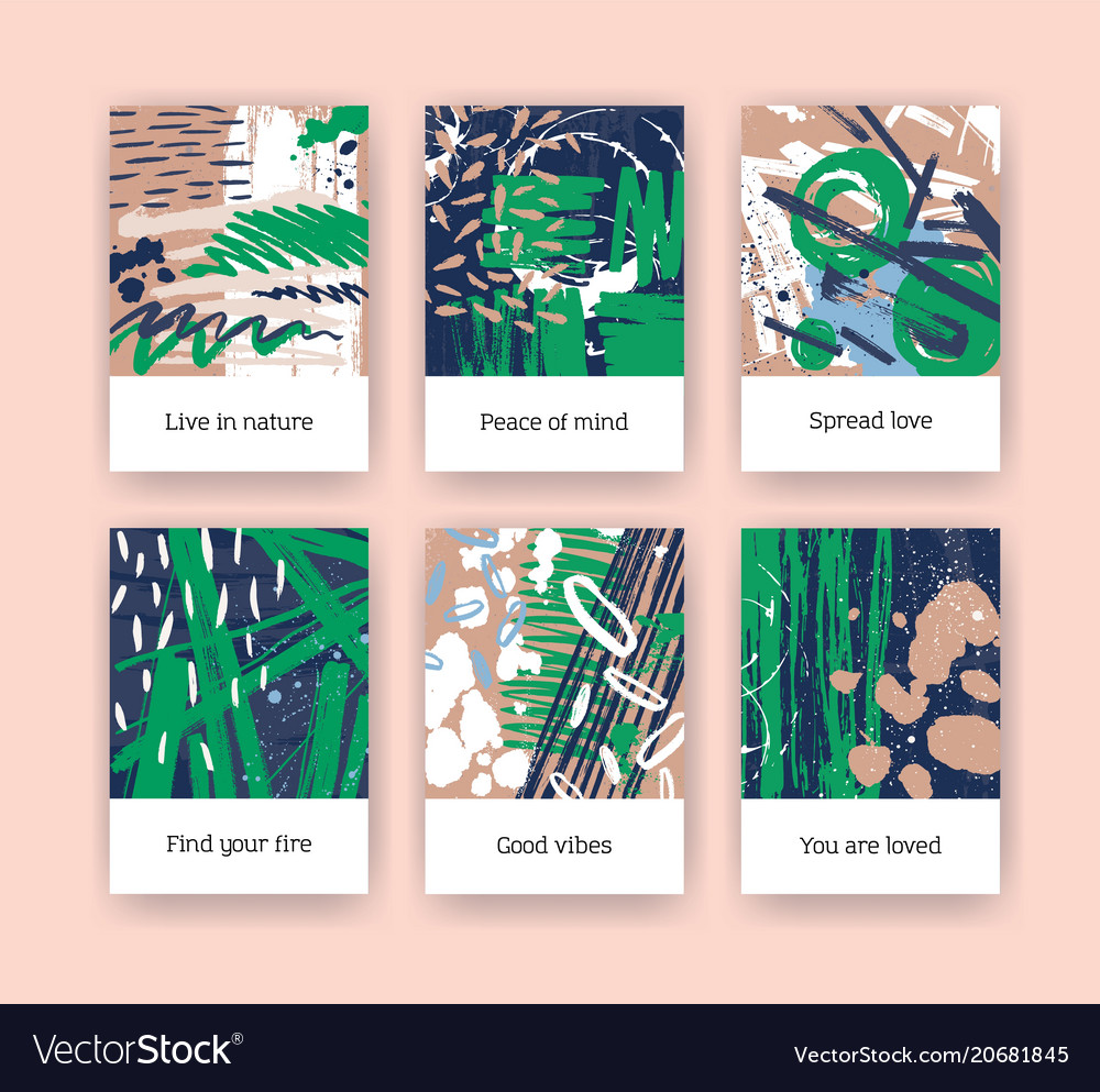 Bundle of poster templates with green and brown