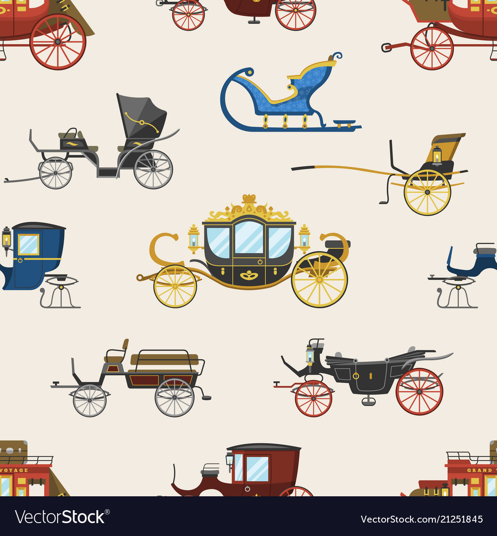 Carriage vintage transport with old wheels vector image