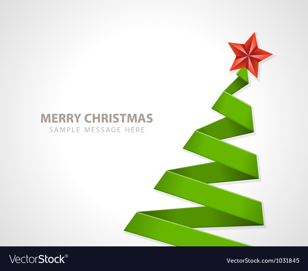Christmas tree from paper ribbon vector image