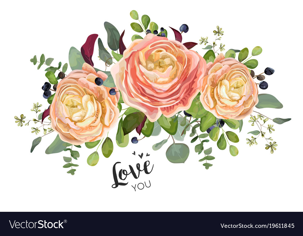 Floral card design garden peach rose ranunculuses
