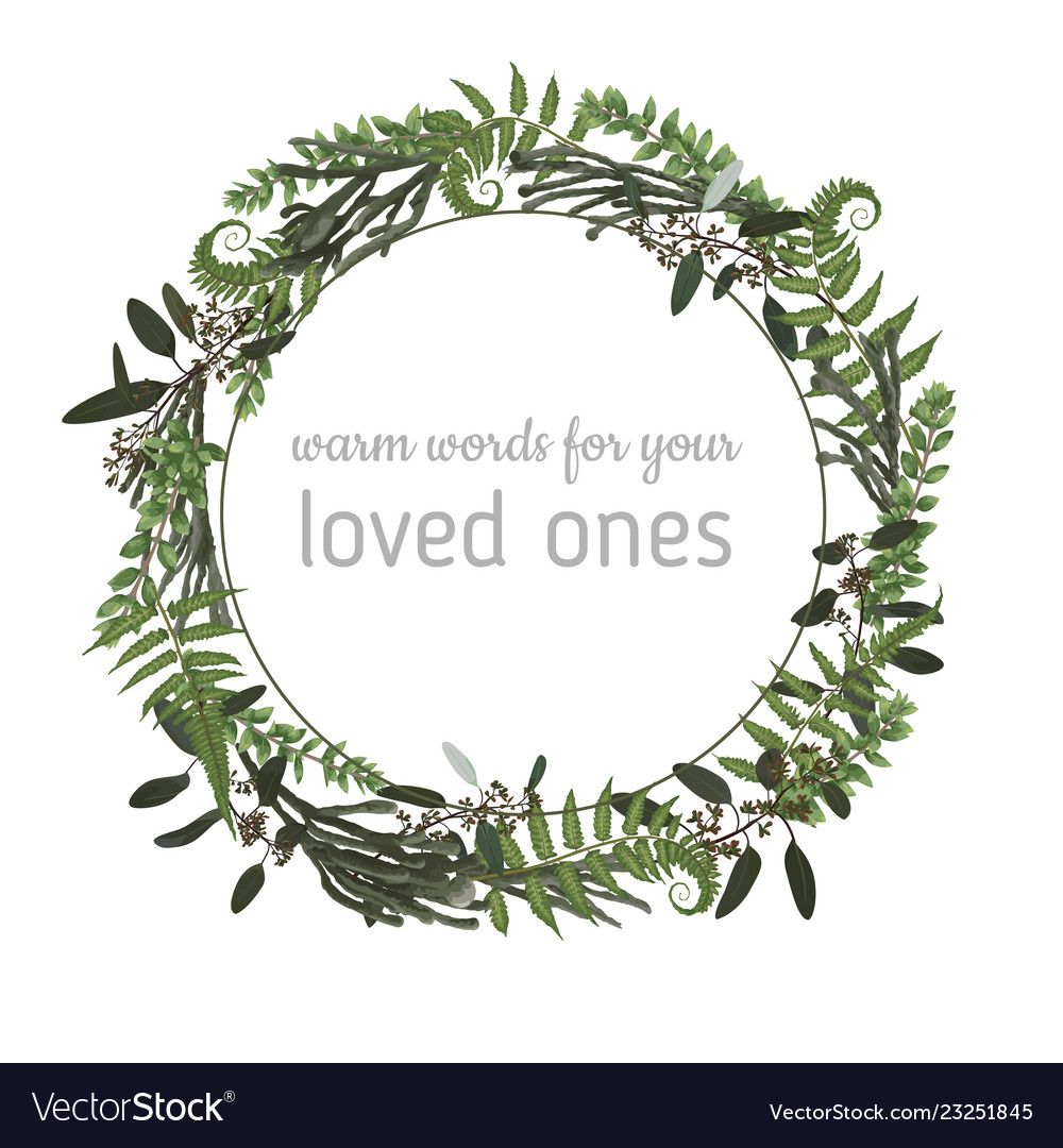 Floral card with leaves eucalyptus brunia fern